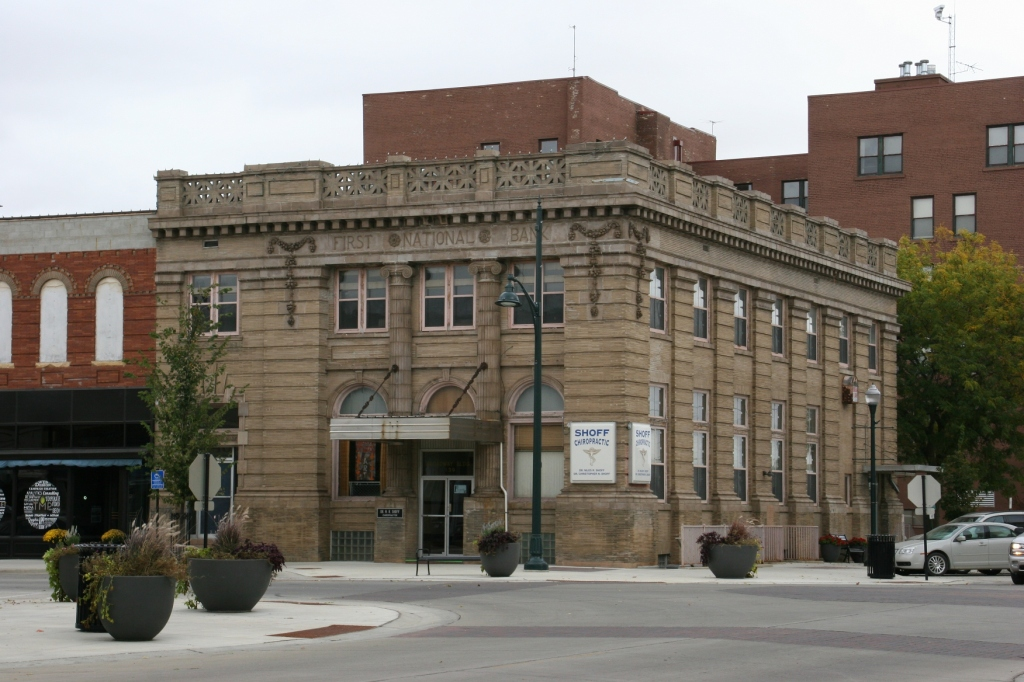 Another former bank building in the downtown.