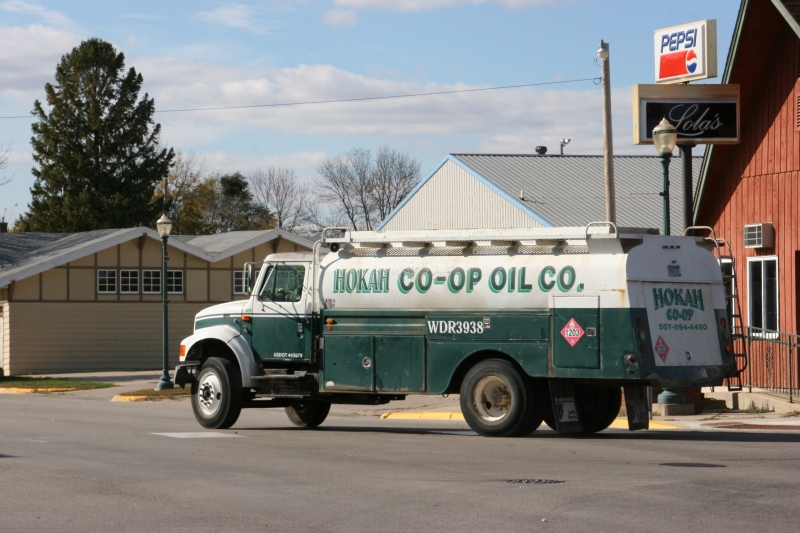 I spotted this co-op fuel truck from nearby Hokah and flashed back to my Uncle Harold's fuel delivery truck at this Midland gas station, long-closed in Vesta, Minnesota.