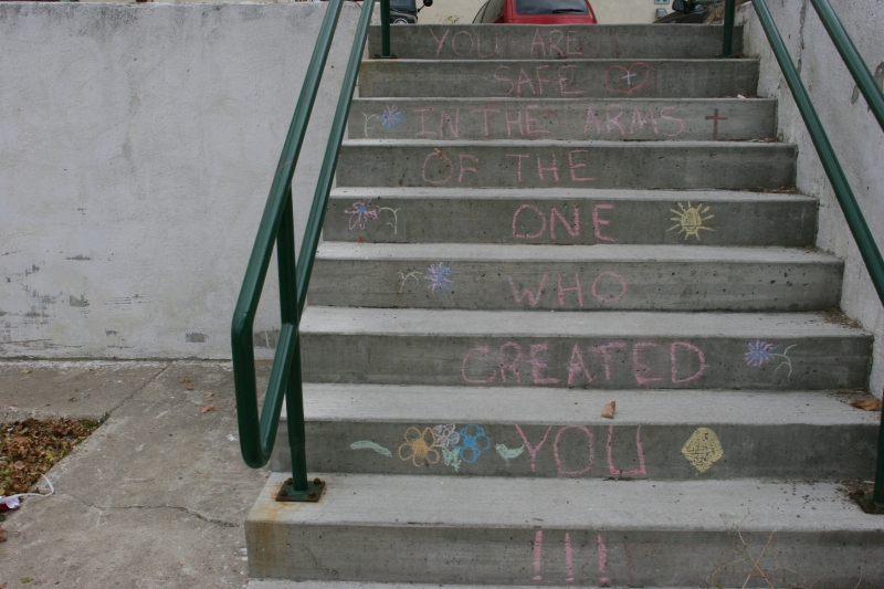 An inspiratinal message chalked onto steps leading to/from a downtown Albert Lea parking lot.