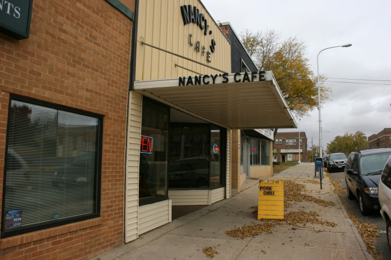 Nancy's Cafe, presents an iconic Main Street appearance.