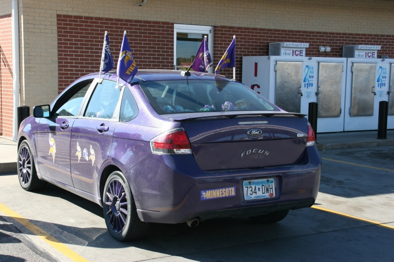 MN Vikings fan, 66 rear view of Vikings car