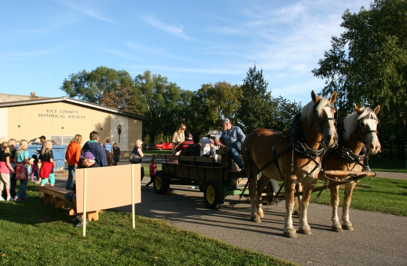 Horse-drawn wagon rides around the Rice County Fairgrounds were popular.