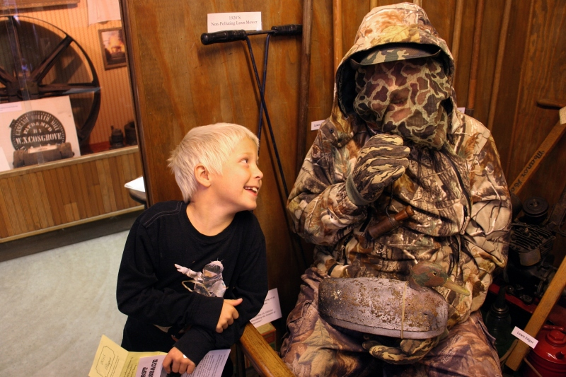 Every time this little guy poked the duck hunter, a duck call emitted. Eventually, he figured out that a real man, Brian Schmidt, was under all that garb. This is the moment Brian revealed himself.