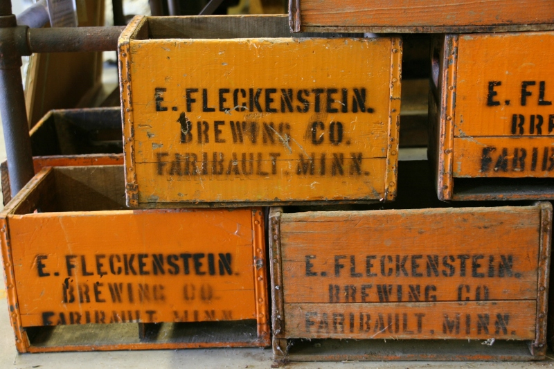 Stacked inside the Harvest and Heritage Halls are these crates from Fleckenstein, which brewed beer and made soda in Faribault.