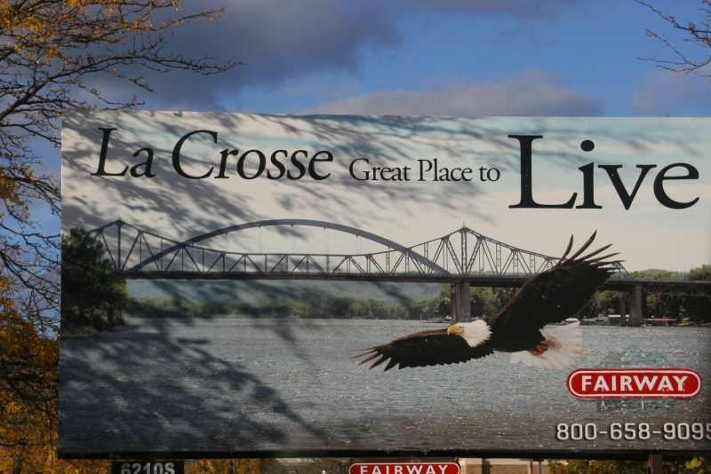 A billboard in La Crosse depicts the natural appeal of this Mississippi River city.
