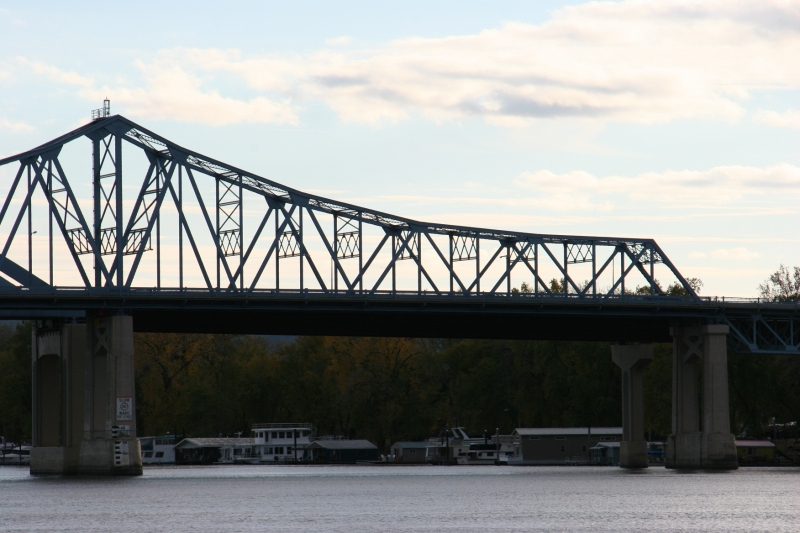 A bridge spanning the Mississippi in La Crosse.