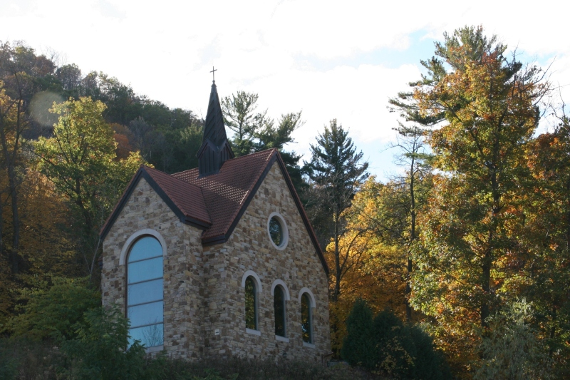 The Mother of Good Counsel Votive Chapel, visible upon arrival at the Shrine site.