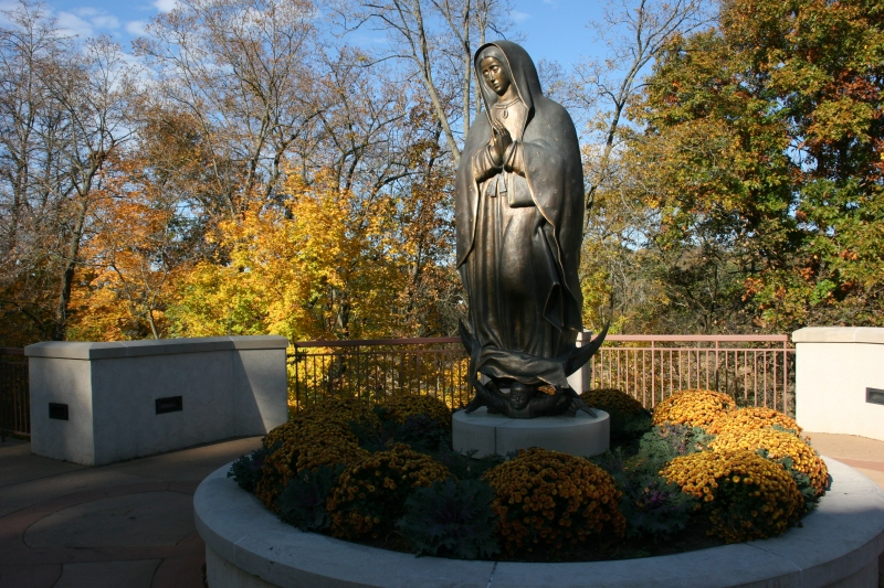 Outside the Pilgrim Center rests this sculpture of the Lady of Guadalupe.