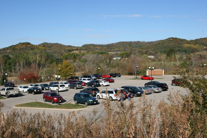 This view of the parking lot shows the scenic rural setting.