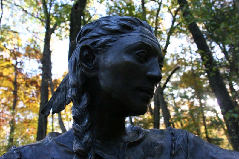Up the path from the chapel, a statue of the first canonized Native American, Saint Kateri Tekakwitha.