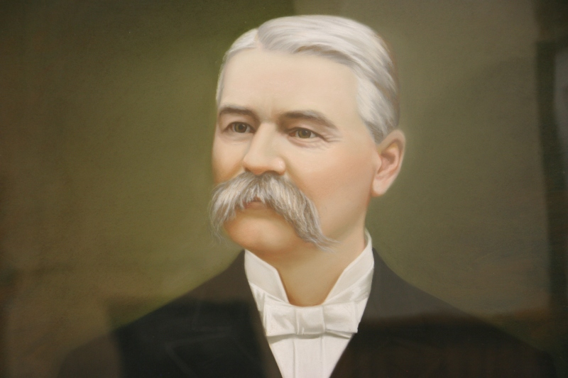 This portrait of founder J.R. Watkins hangs in the museum.