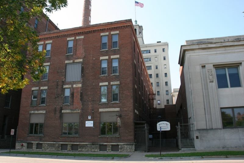 The historic Watkins complex (museum on left, administrative building on right) is on the National Register of Historic Places.