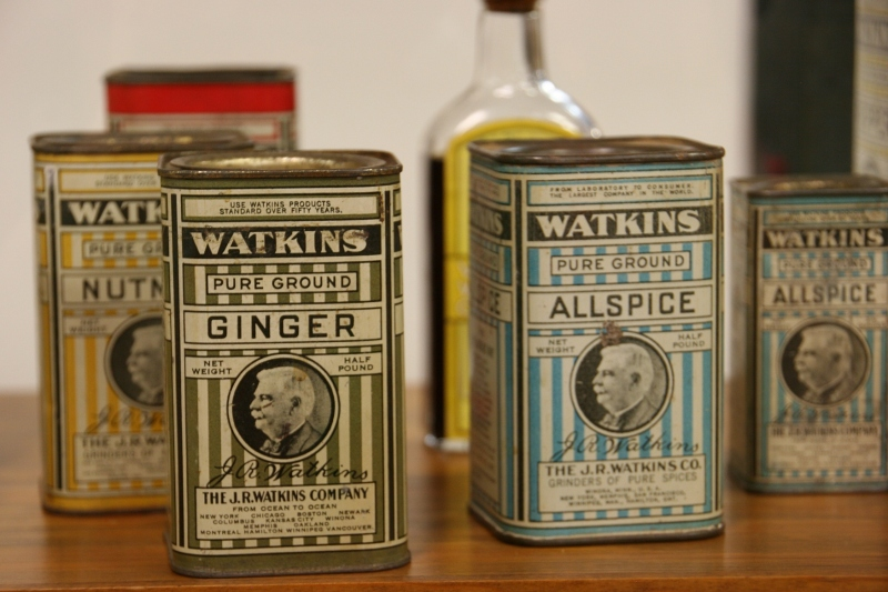 Spices have always been a popular product with Watkins customers. These vintage spice containers are showcased in the museum.