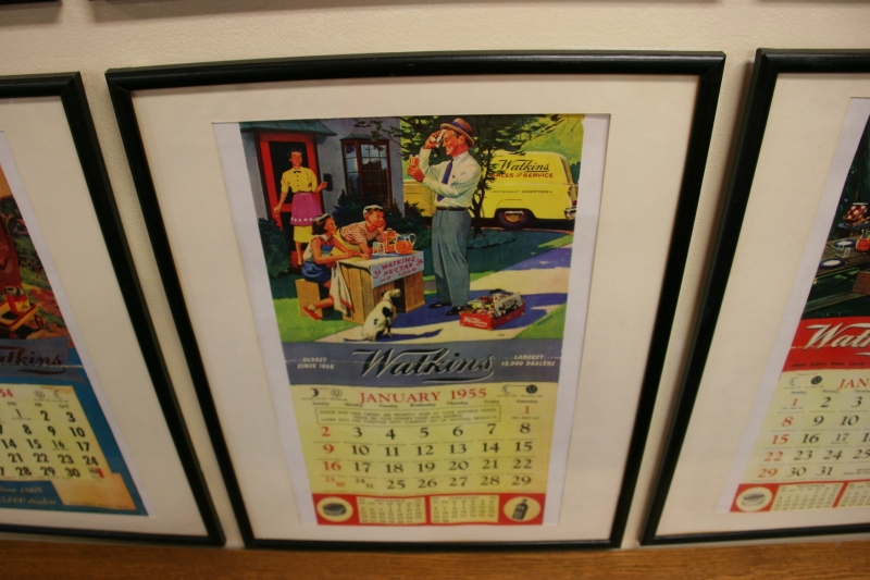 Art in a vintage Watkins calendar.