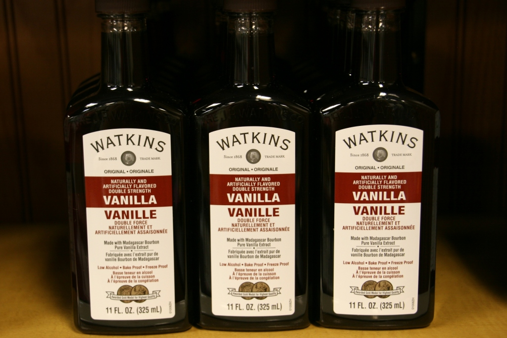 Various sizes of Watkins vanillas are sold in the museum store. A recipe for Vanilla Coffee Creamer is printed on the package holding the vanilla I purchased.