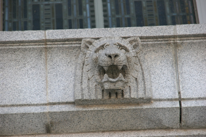 Lion heads are also carved in stone.