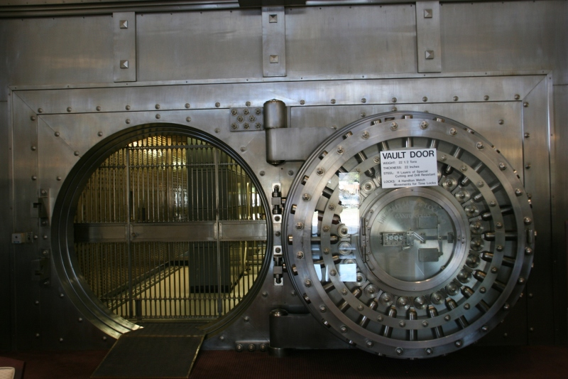 The mammoth steel vault door gives an impression of safety and security. It was built by Diebold Safe and Lock Company of Canton, Ohio.