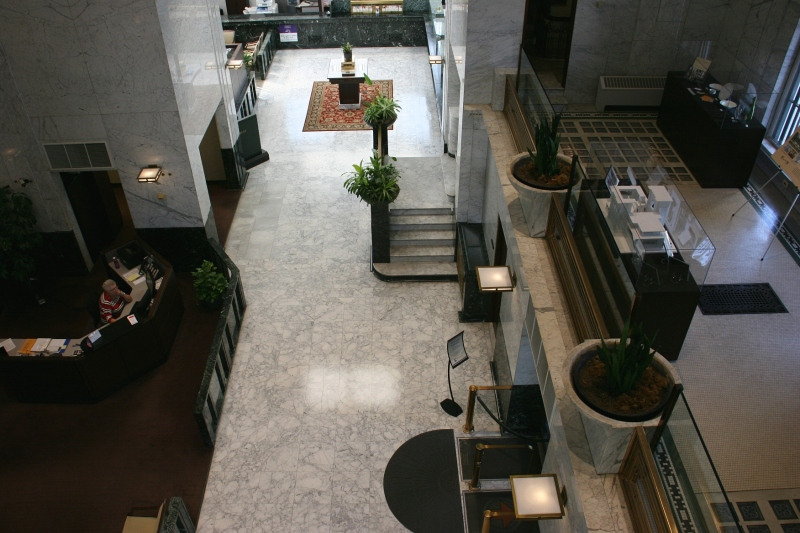 From an upper floor looking down to the lobby.