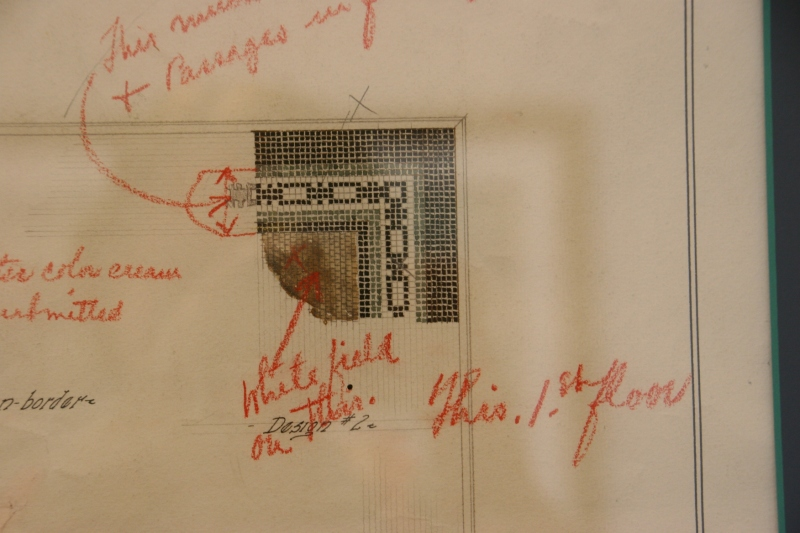 Plans for the tile are on display.