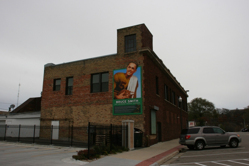 The mural is tucked away on the back of an historic downtown building.