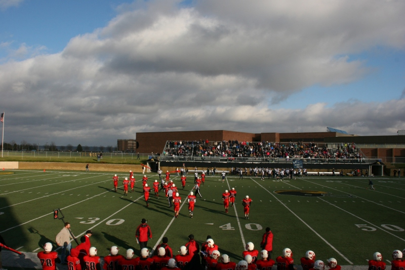 Occasionally, the clouds parted and sunshine shone upon the football field.