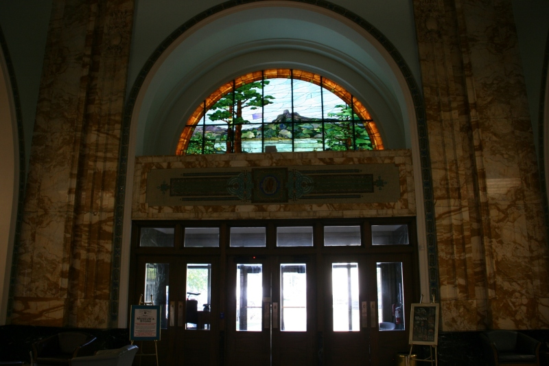 Inside, looking toward the front doors.