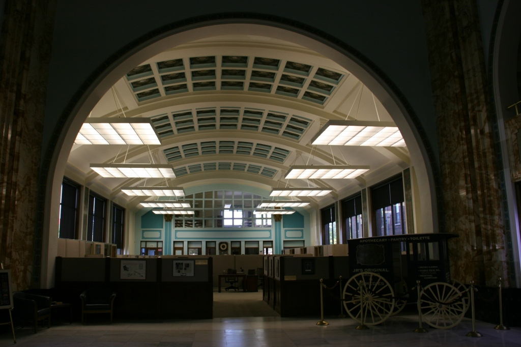 The building features 224 stained glass skylights.