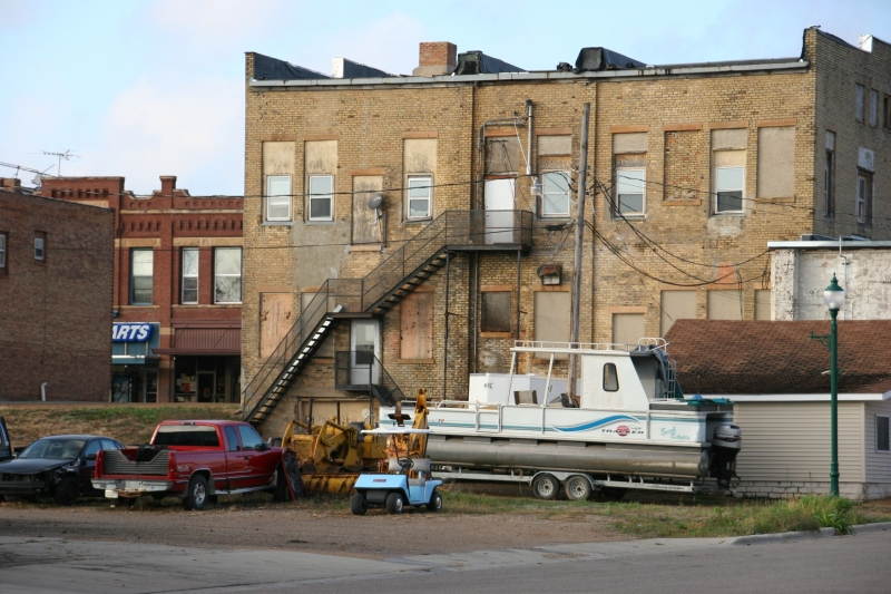 What's behind buildings can also reveal a lot about a town.