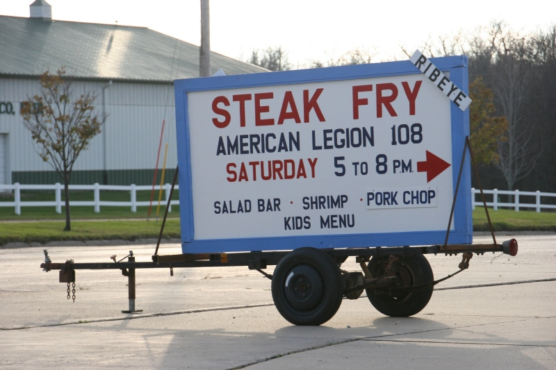The Legion does not limit its Steak Fry menu to steak. It also includes walleye, pork chops, shrimp, a full salad bar and kids' menu. The next Steak Fry is from 5 - 8 p.m. on November 28.