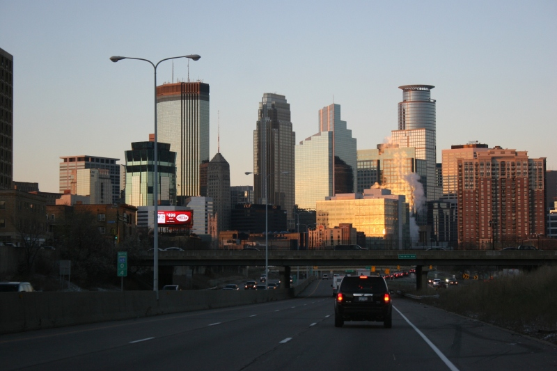 The Minneapolis skyline as the sun sets.