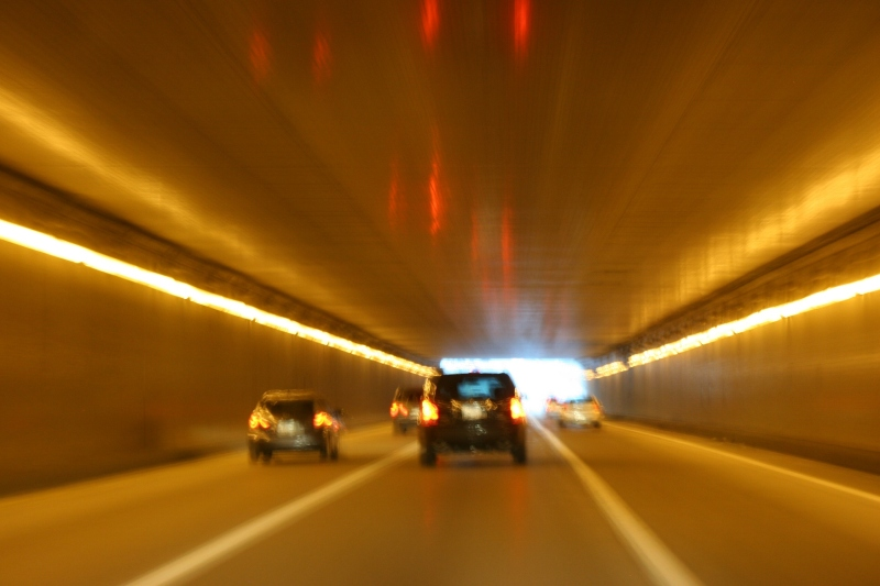 Driving through the Lowry Hill Tunnel.