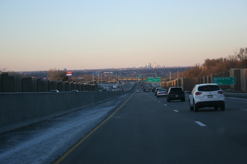 The Minneapolis skyline appears in the distance as we drive along Interstate 35 in Burnsville.