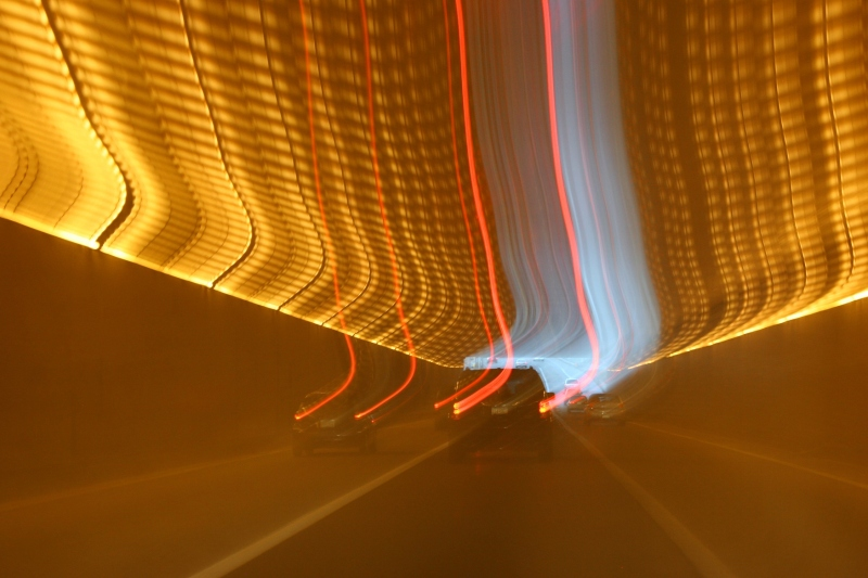 Low light and a slow shutter speed created this effect inside the Lowry Tunnel.