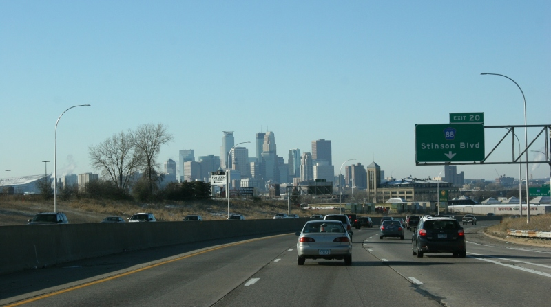 Driving toward downtown Minneapolis from the north.