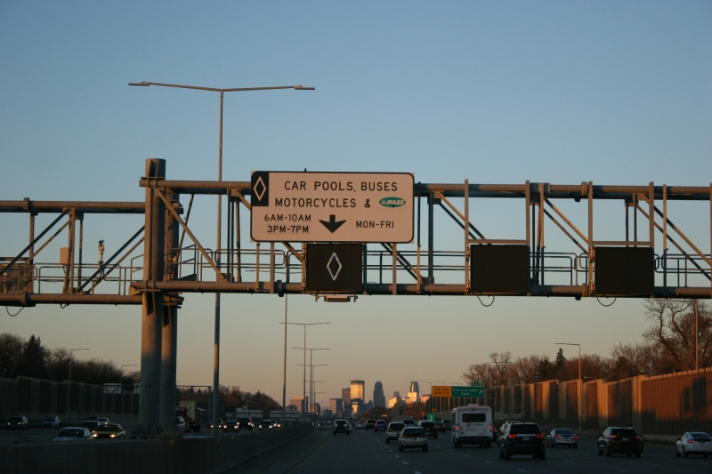 "Signage for the ""sane lane"" nearing downtown Minneapolis."