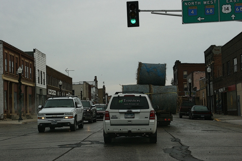 Bales on trailer, 89 in downtown Sleepy Eye