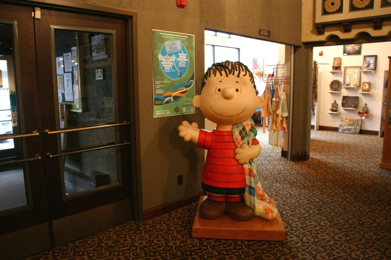 This rendition of Linus, on loan from the Faribault Woolen Mill, stood in the lobby of the Paradise Center for the Arts during the recent holiday play.