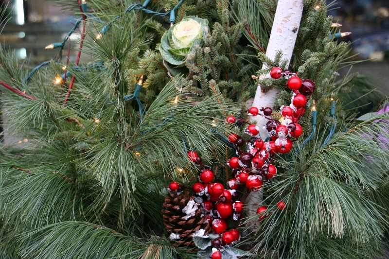 Beauty in the details of a holiday themed outdoor arrangement in downtown Faribault outside Bluebird Cakery.