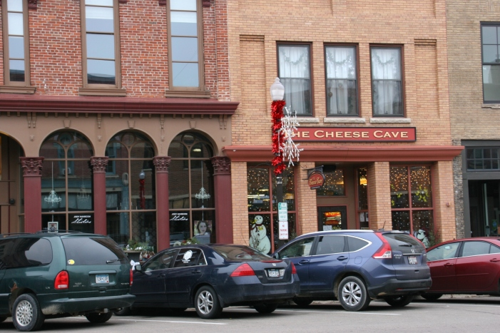 Historic buildings in downtown Faribault are decorated for the holiday season.