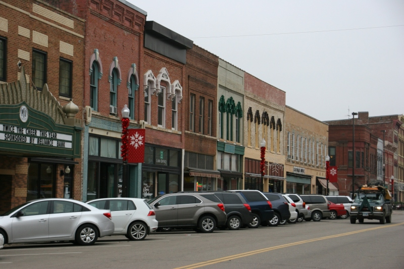 A snippet of businesses along Central Avenue in historic downtown Faribault.