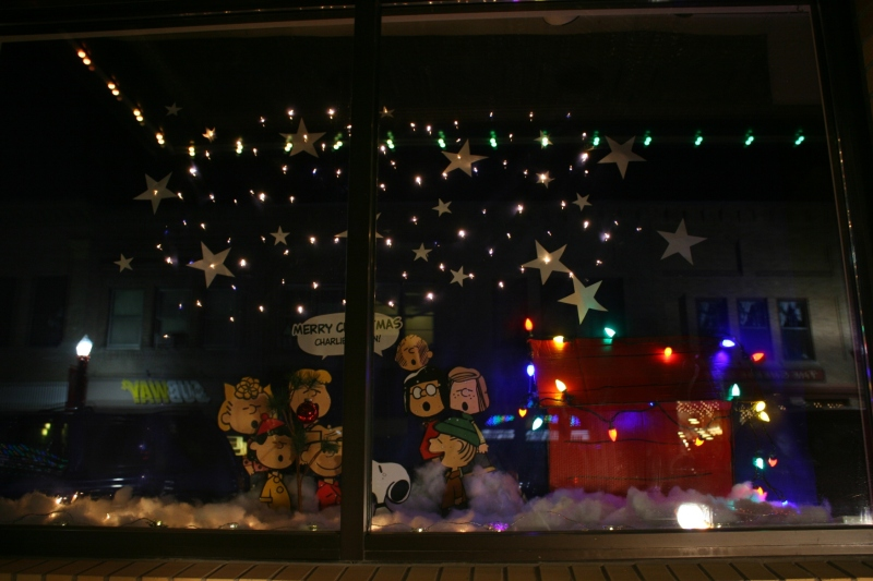 Charlie Brown and crew also occupy a window space at the Paradise Center for the Arts.