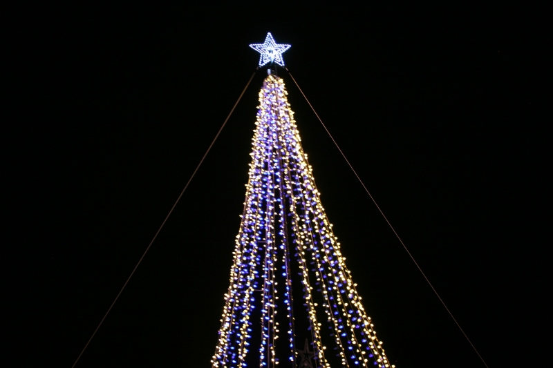 Holiday lights, 14 star atop tree