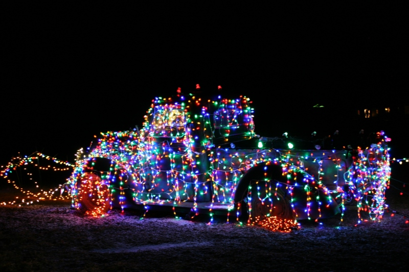 Holiday lights, 15 1939 Ford pick-up truck