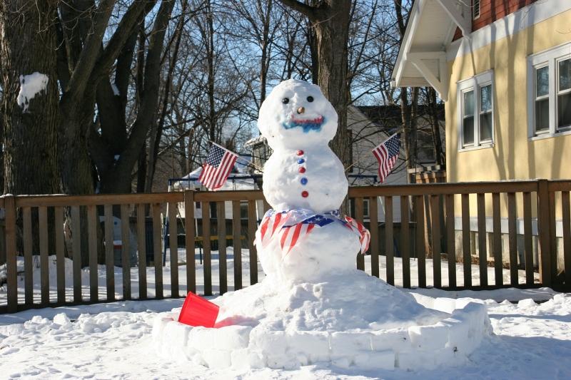 Division Street snowman, 17 semi close
