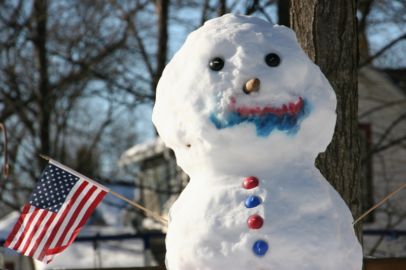 Division Street snowman, 19, close-up two