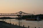 Mississippi River in Winona, 366 barge &bridge