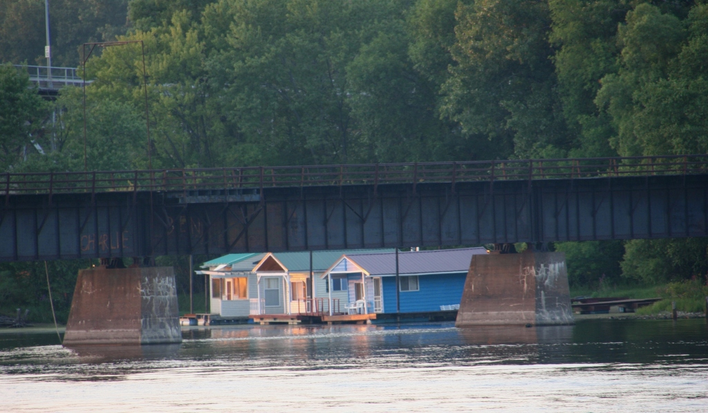 Boathouses as photographed from Levee Park in Winona. Minnesota Prairie Roots photo, September 2015.