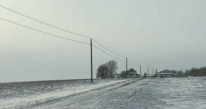 I am always struck by how desolate farm sites appear in winter. This one lies between New Prague and Montgomery.