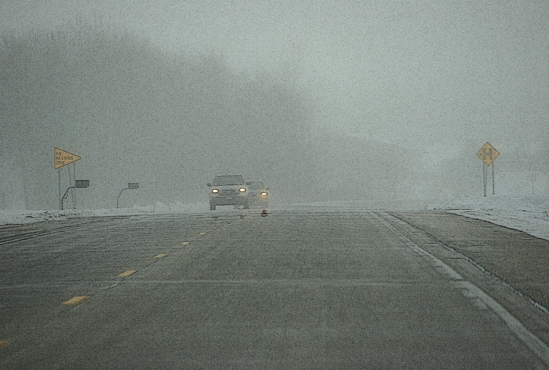 Reduced visibility driving into Montgomery Saturday afternoon.