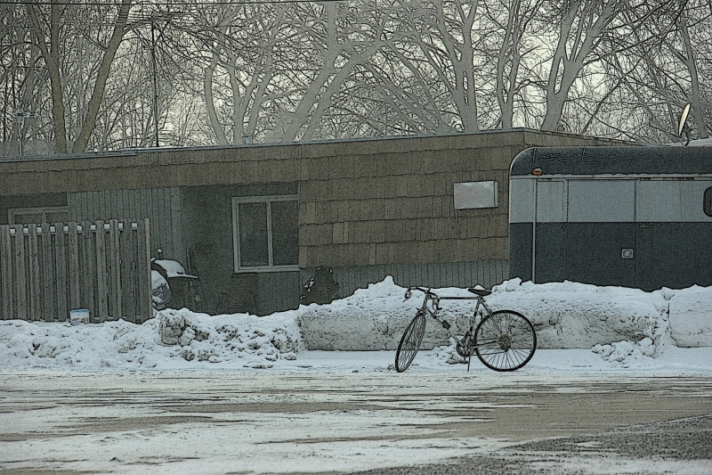 Winter does not stop Minnesotans from riding their bikes. This one was spotted in Montgomery.